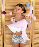 Подушка игрушка детская Хатка Кит Розовый с Белым
