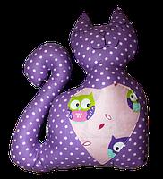 Подушка игрушка детская Хатка Кот Фиолетовый