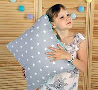 Подушка игрушка детская Хатка Квадратная Серая с Мятным