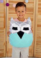 Подушка игрушка детская Хатка Сова Серая с Мятой