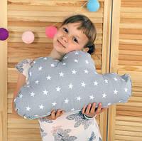 Подушка игрушка детская Хатка Облако Серое с Мятой