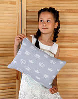 Подушка игрушка детская Хатка Прямоугольная Серая с Мятой