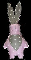 Подушка игрушка детская Хатка Заяц Принцесса Розовый с серым