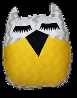 Подушка игрушка детская Хатка Сова Египет Серая с желтым