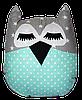 Подушка Хатка Сова Звезды Серая с мятным