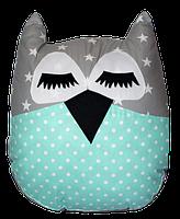 Подушка игрушка детская Хатка Сова Звезды Серая с мятным