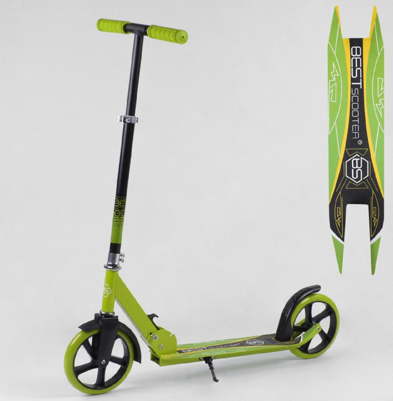 Самокат BestScooter цветные колеса 20 см - Зелёный