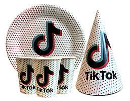 """Набор для детского дня рождения """"Tik Tok"""" Тарелки -10 шт Стаканчики - 10 шт Колпачки - 10 шт"""