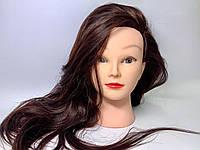 Учебная голова манекен с термоустойчивым волосами для плетения косичек и причесок( шатен) с штативом