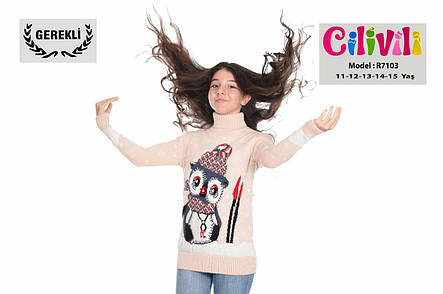 Вязаный свитер для девочек 11-15 лет Совушка, фото 2