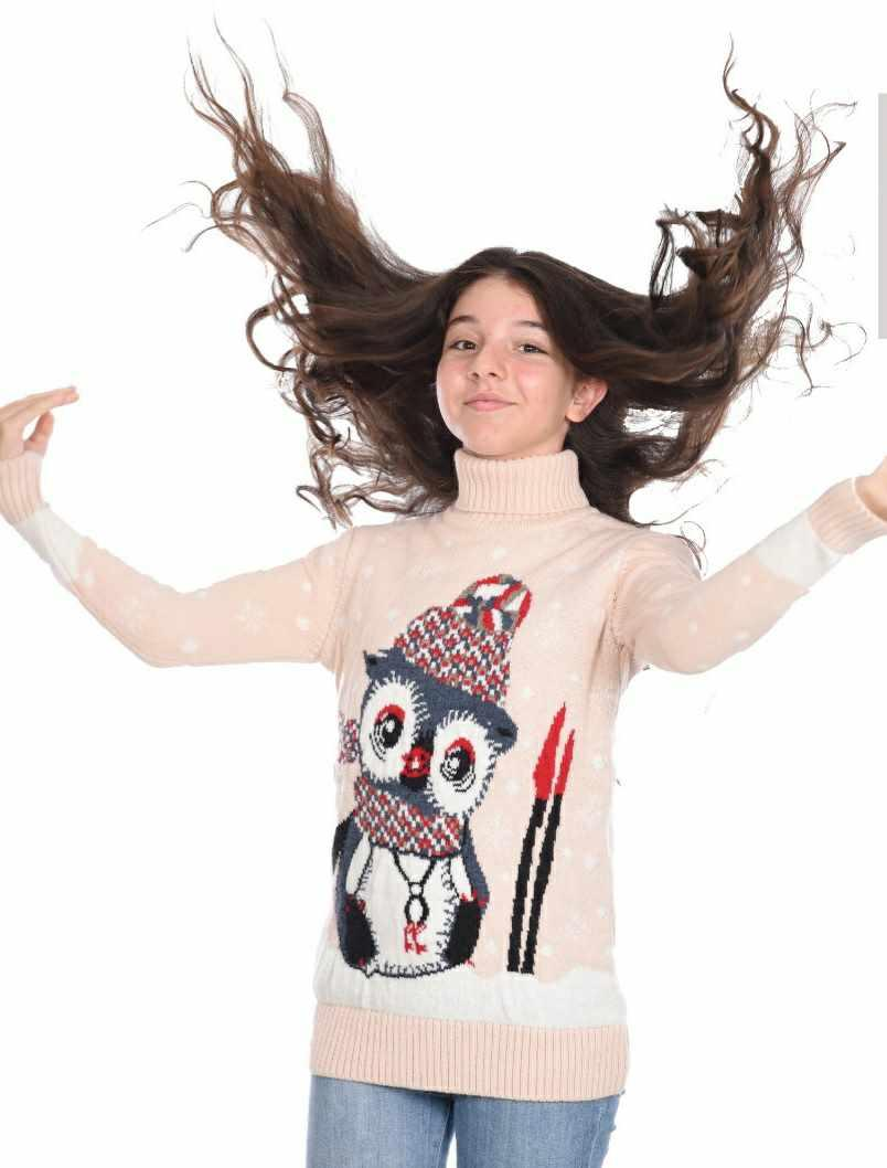 Вязаный свитер для девочек 11-15 лет Совушка