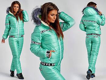 Женский стильный лыжный костюм на синтепоне с капюшоном (Норма,батал)