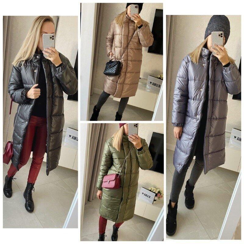 Стильное женское пальто зимнее без капюшона на силиконе прямого кроя воротник стойка 4 цвета