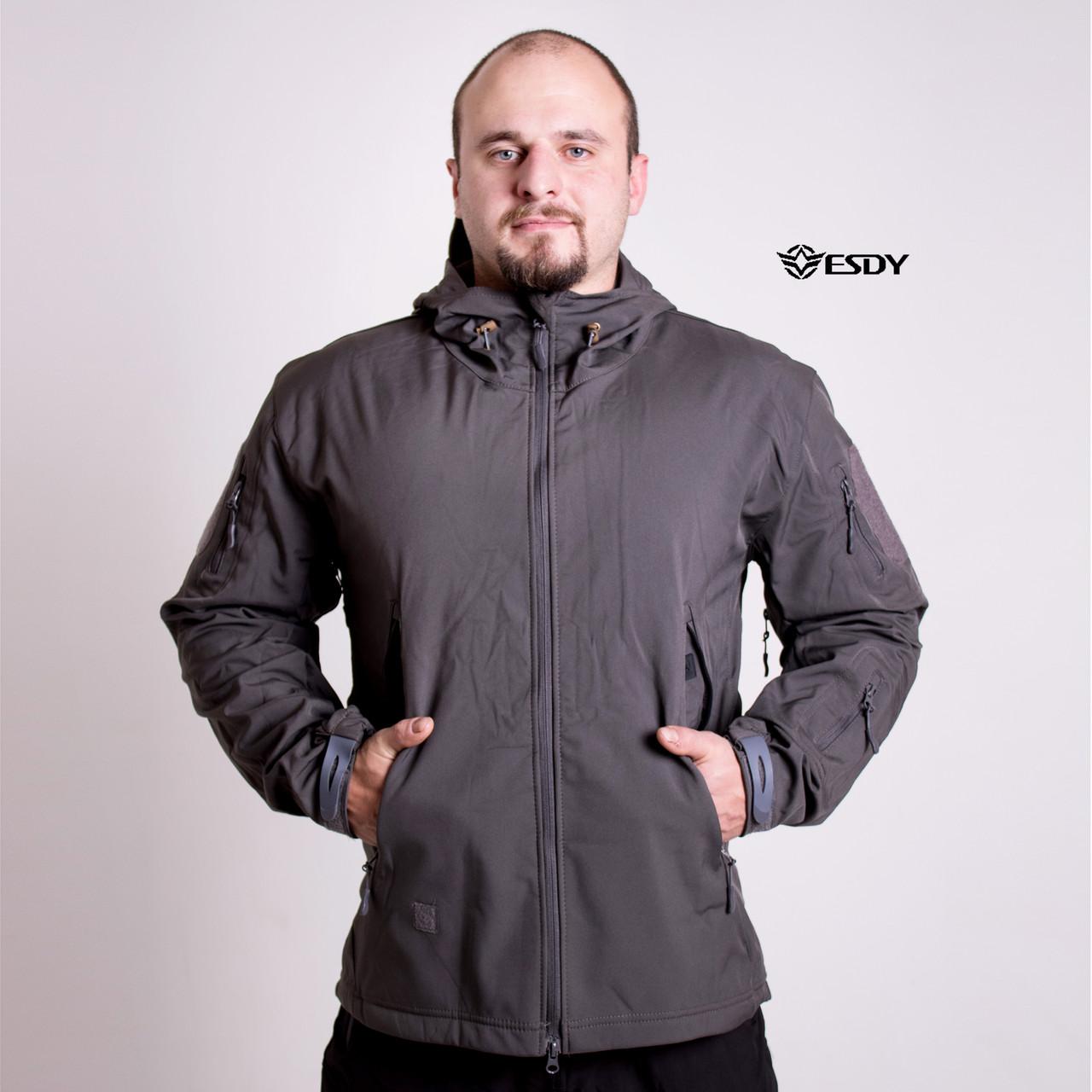 Тактическая Куртка Soft Shell ESDY TAC.-01 Gray непромокаемая