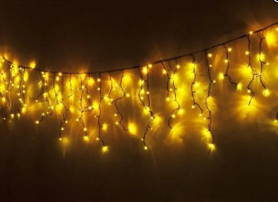 """Уличная Cветодиодная гирлянда Бахрома """"Icicle"""" 5 метров Желтая, 120 LED черный провод каучук пвх, 8 режимов"""