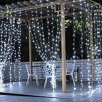 Вулична Світлодіодна гірлянда Водоспад 3х2 метра білий, 560 LED прозорий силікон