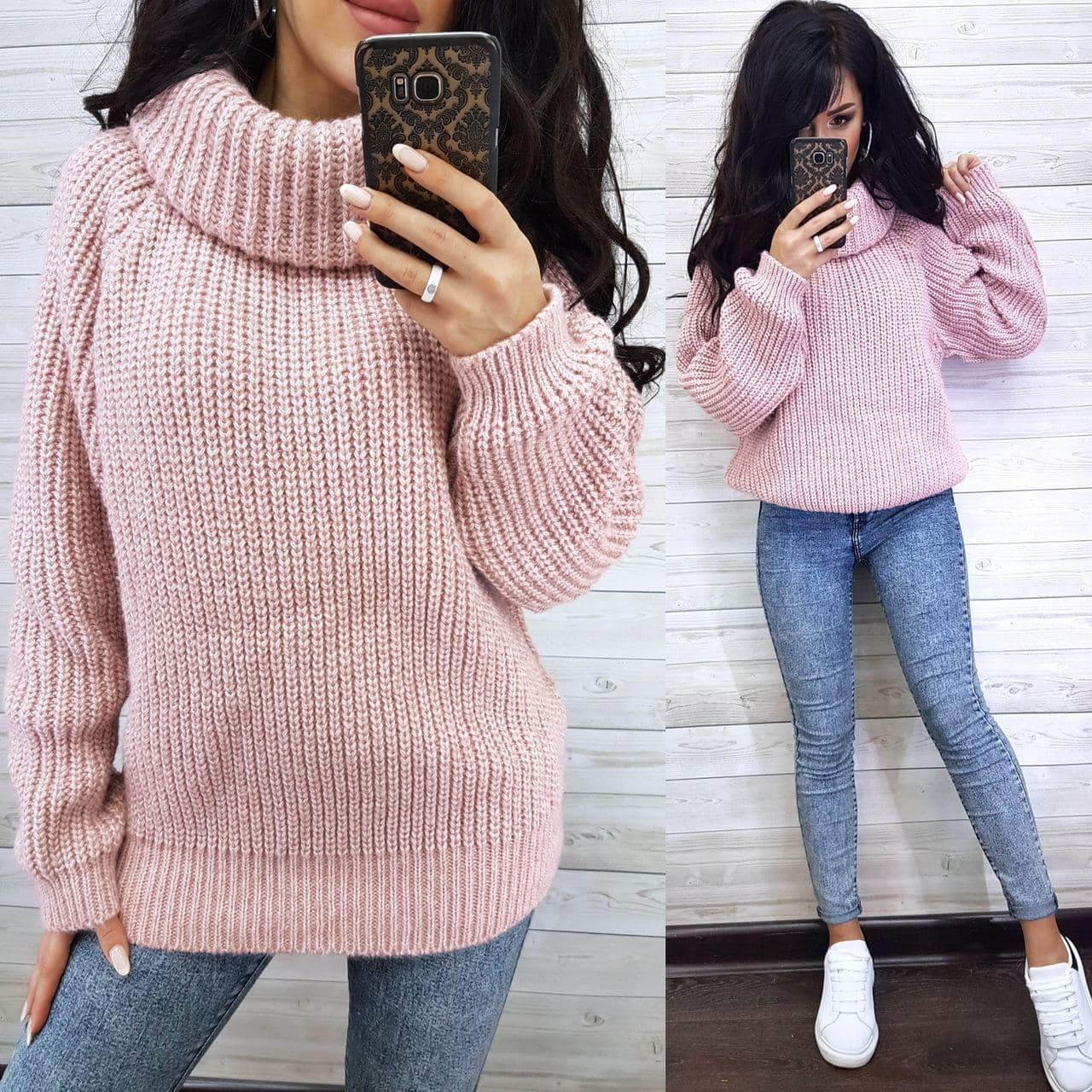 Плетений жіночий теплий светр з рукавом регланом і коміром хомутом (р. 42-46) 8dm1039