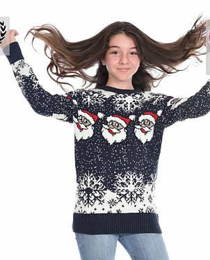 Новогодний вязаный свитер для девочек 11-15 лет Дед мороз бордовый, фото 2