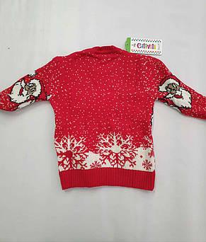 Новогодний вязаный свитер для девочек 11-15 лет Дед мороз бордовый, фото 3