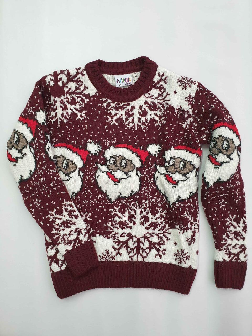 Новогодний вязаный свитер для девочек 11-15 лет Дед мороз бордовый