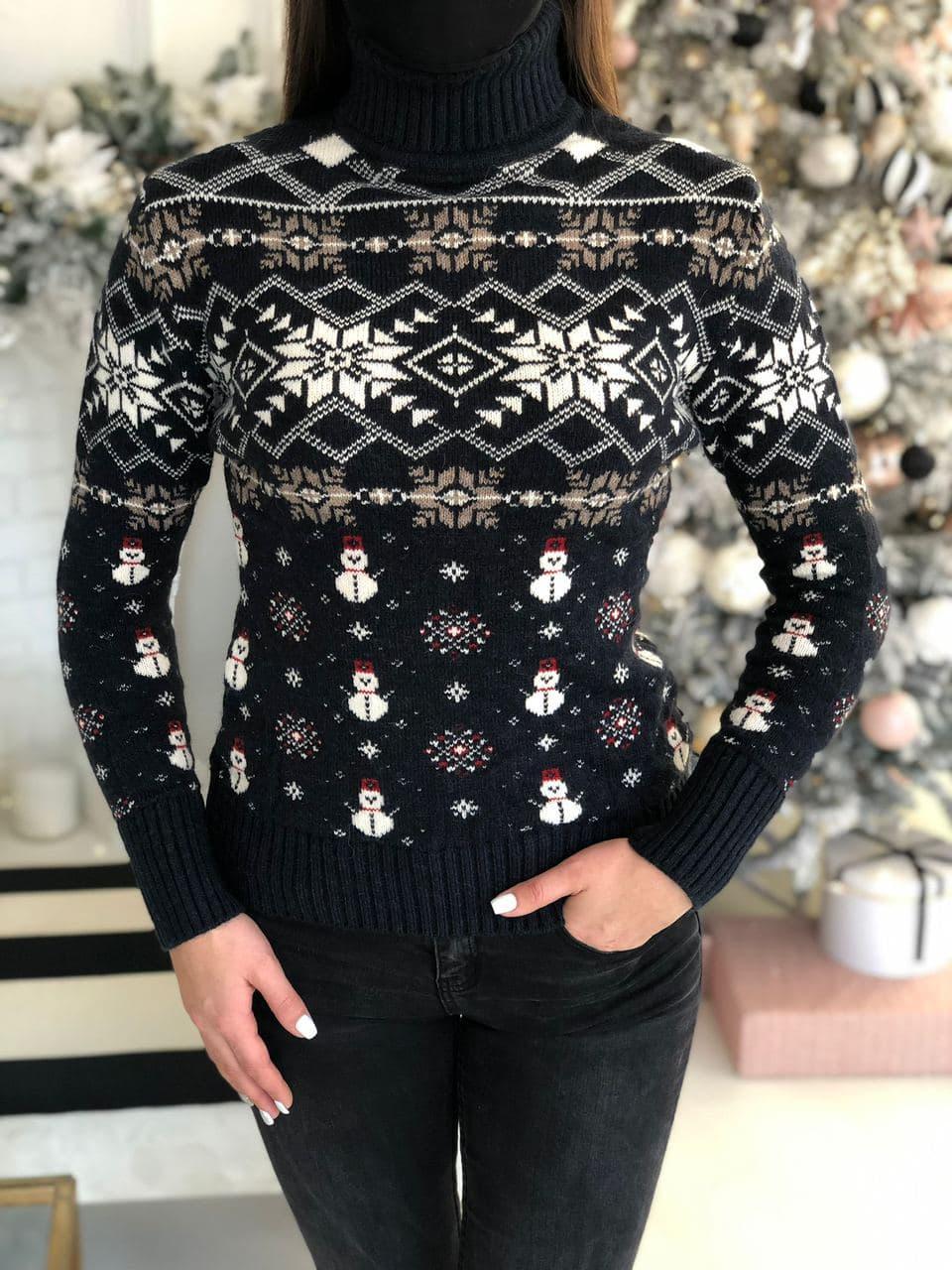 Женский зимний свитер черного цвета, размер 44-46 (универсальный), не колется, мягкий шерстяной