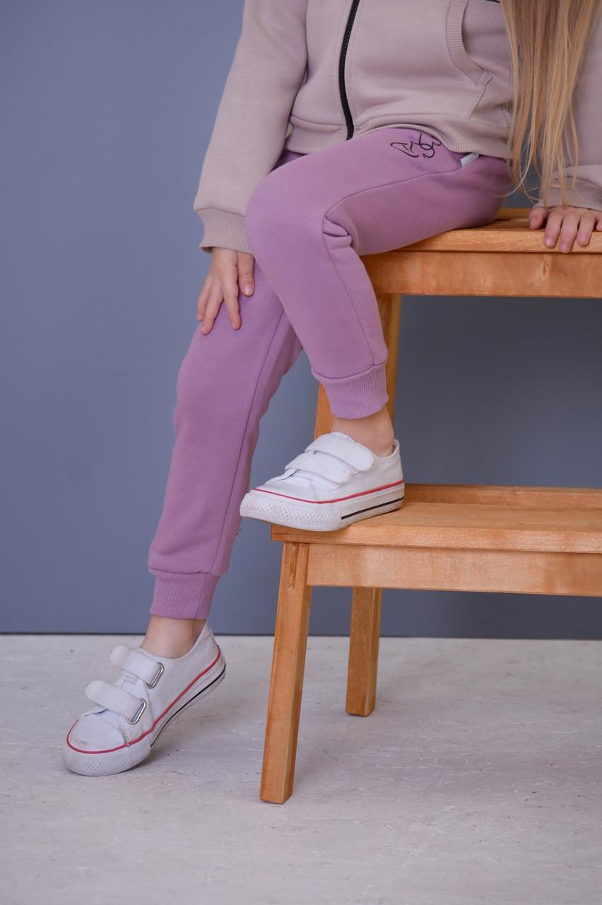 Штаны теплые детские спортивные для девочки (на байке) (110-128) цвет фреза