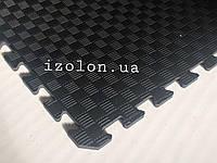 Коврик-пазл (мягкий пол татами ласточкин хвост) IZOLON EVA SPORT 1000х1000х10мм, черный, фото 1