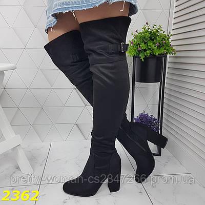 Сапоги чулки ботфорты на удобном широком каблуке классика замшевые