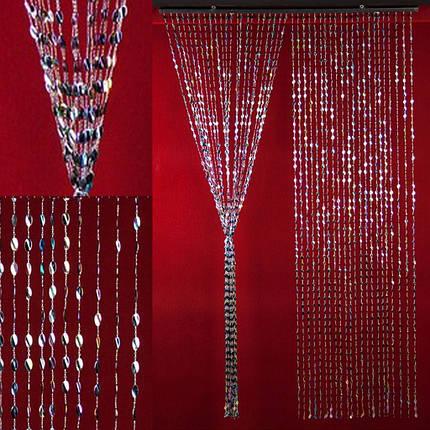 """Штора декоративна пластикова """"Листочок"""" Д67 темно-синій перлам._Н200см В90см, фото 2"""