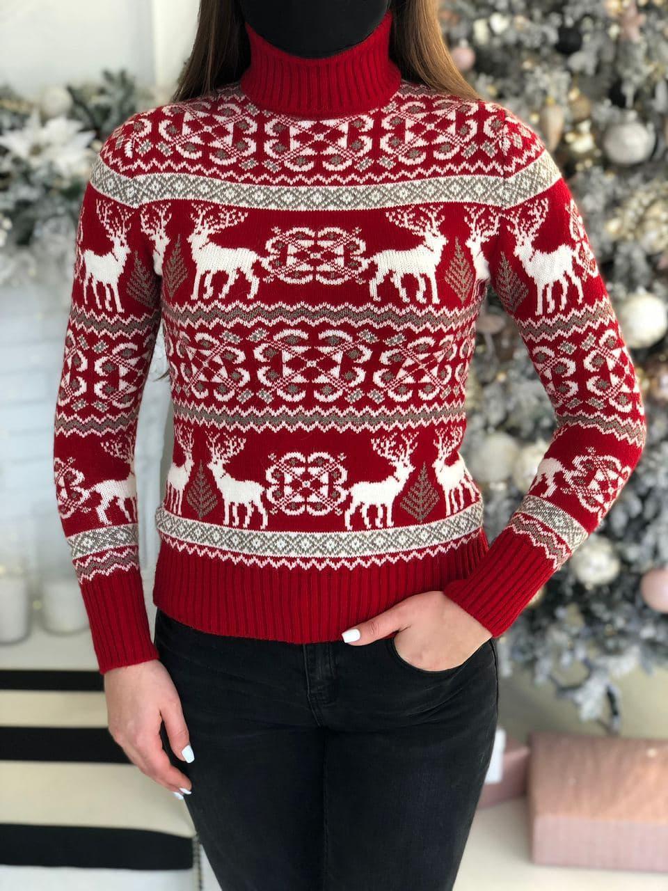 Женский зимний свитер красного цвета с оленями, размер 44-46 (универсальный), не колется, мягкий шерстяной