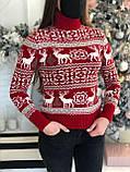 Женский зимний свитер красного цвета с оленями, размер 44-46 (универсальный), не колется, мягкий шерстяной, фото 2