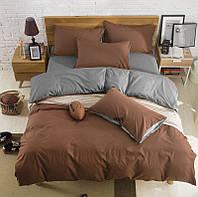 Комплект постельного белья Наша Швейка Бязь Коричневый и серый однотонный Семейный 2 х 150х215 см