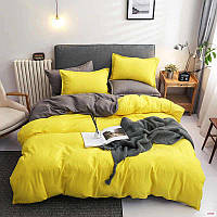 Комплект постельного белья Наша Швейка Бязь Желтый и серый однотонный Двуспальный 180х215 см