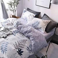 Комплект постельного белья Наша Швейка Бязь Ветки на белом с серым Евро 200х220 см