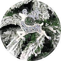 Игрушка на елку «Олень» (серебро, 11см)