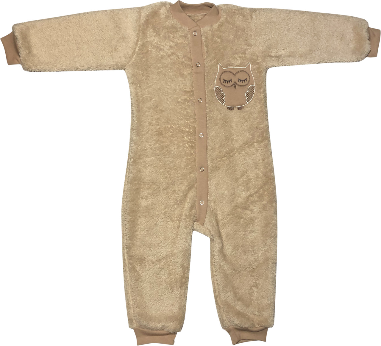 Теплий чоловічок сліп для малюків ріст 92 1,5-2 роки на хлопчика дівчинку махровий з відритими ніжками бежевий