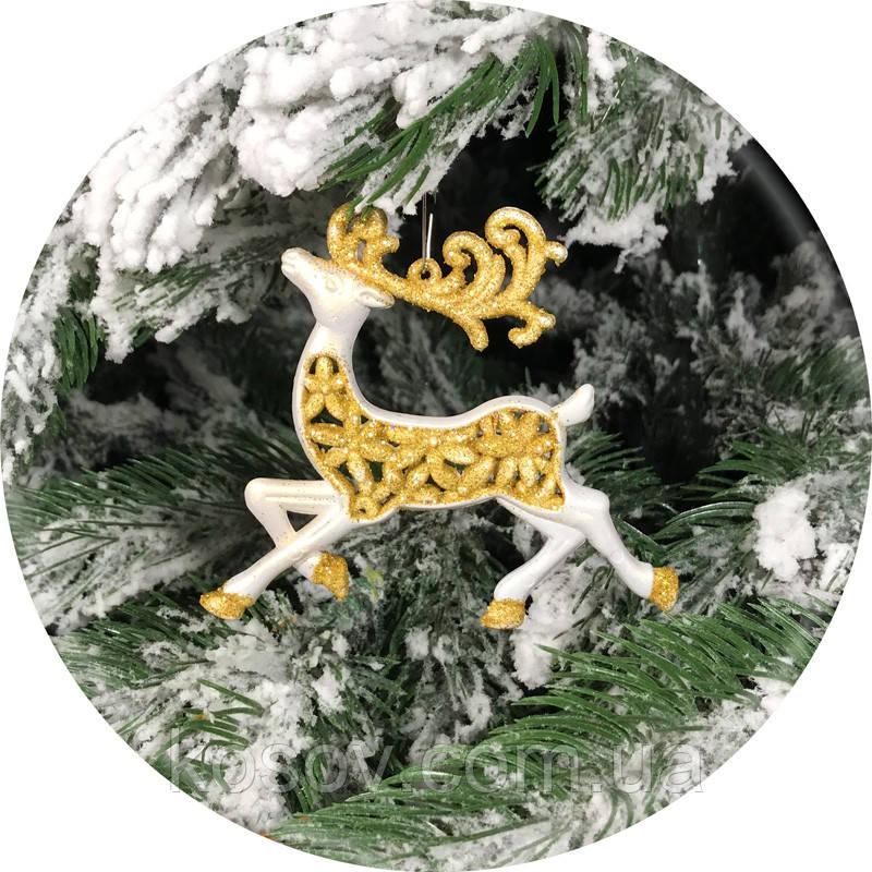 Игрушка на елку «Олень» (золото, 11см)