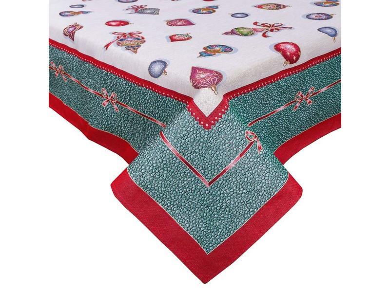 Скатерть новогодняя тканевая гобеленовая 240 х 137 см скатертина новорічна гобеленова