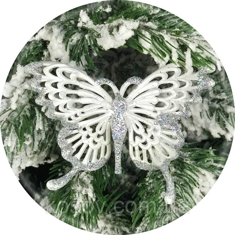 Игрушка на елку «Бабочка» (серебро, 12см)
