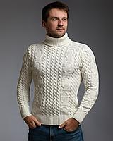 Теплый свитер мужской с подворотом и узором цепи