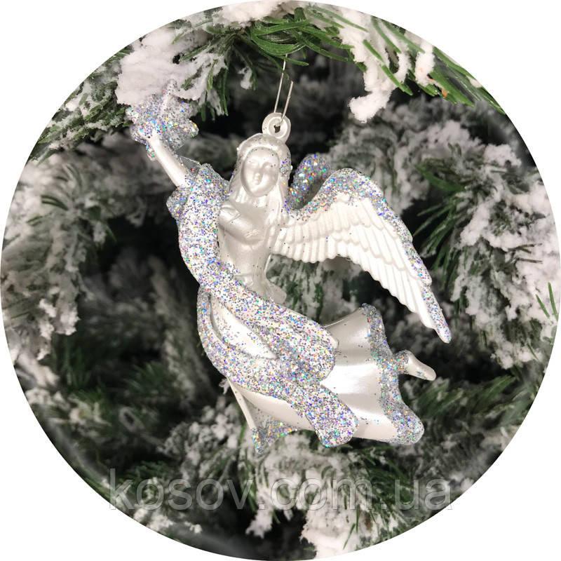 Игрушка на елку «Ангел» (серебро, 12см)