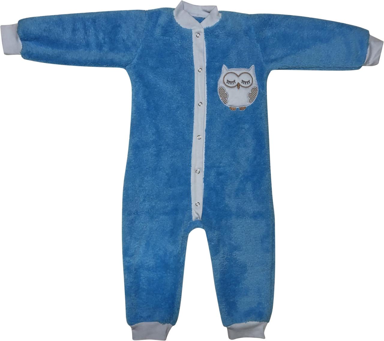 Тёплый человечек слип на мальчика рост 92 1,5-2 года для малышей махровый детский с отрытыми ножками голубой