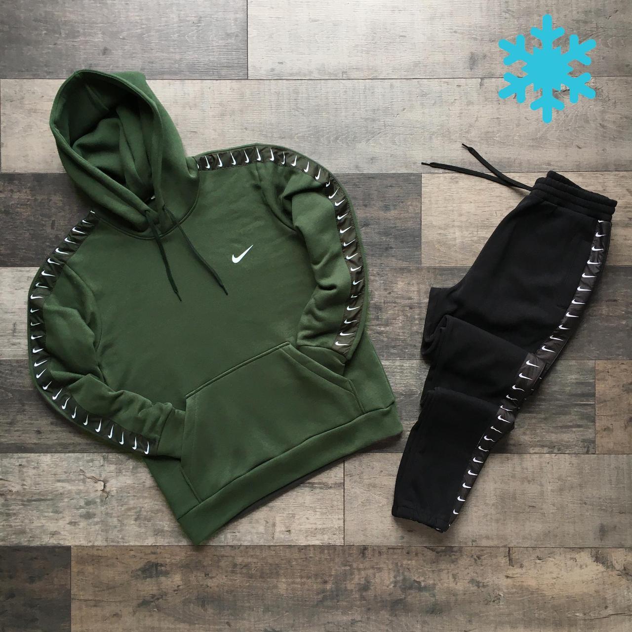 Мужской утепленный спортивный костюм Nike, на флисе, худи - штаны весна/осень/зима