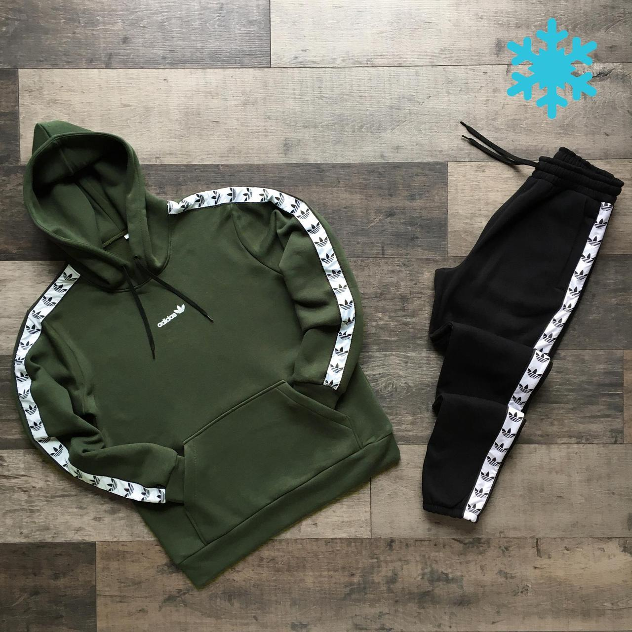 Мужской утепленный спортивный костюм Adidas, на флисе, худи - штаны весна/осень/зима