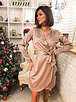Атласное платье на запах с длинным рукавом и поясом (р. S-M) 22pmpa1808, фото 1