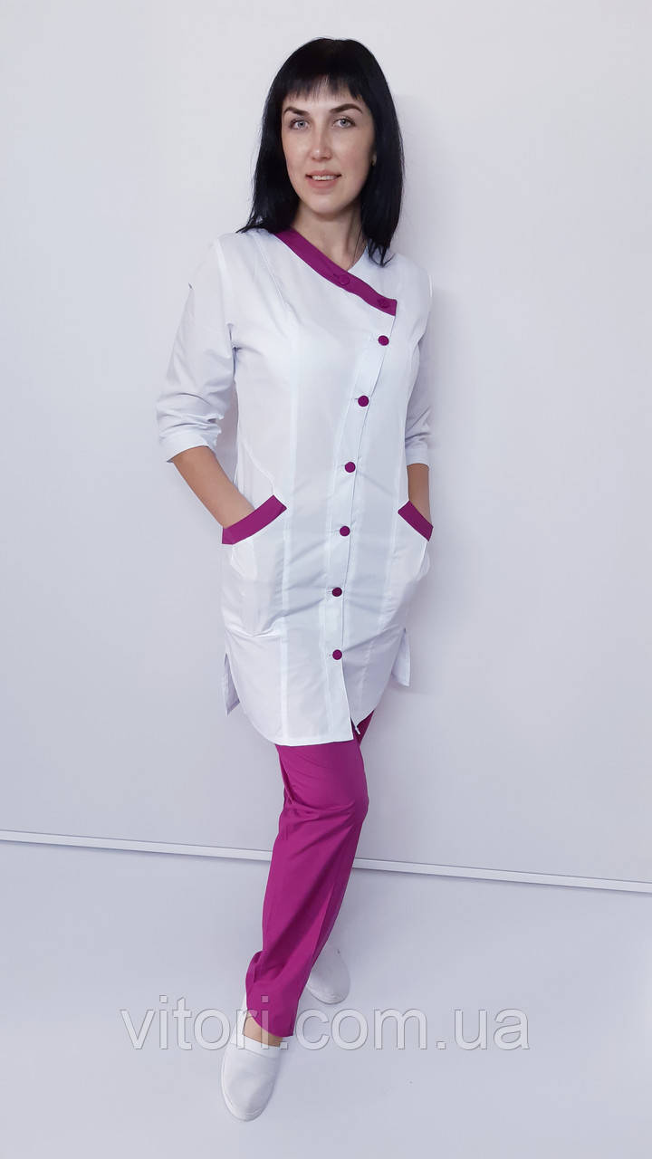 Медицинский женский костюм Китай 2-ка коттон три четверти рукав