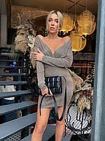 Облегающее платье со спущеным плечами из люрекса с блестками (р.42-46) 58pmpa1816, фото 1