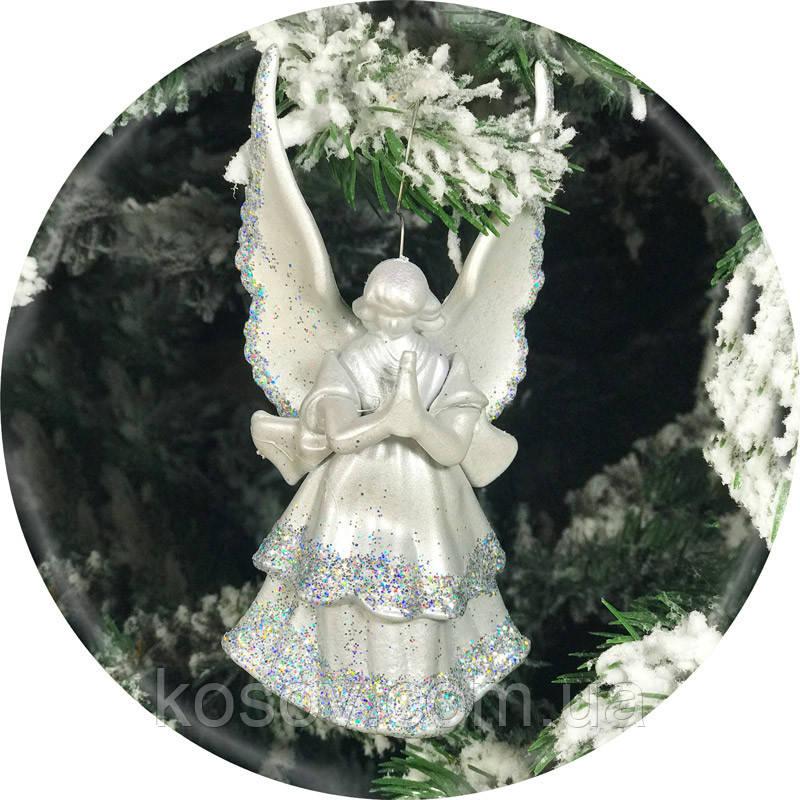 Игрушка на елку «Ангел» (серебро, 16см)