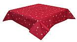 Скатерть праздничная новогодняя тканевая гобеленовая Зоряна Ніч 137 х 180 см гобеленова красная, фото 2
