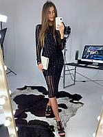 Облегающее платье футляр миди с полосками из пайеток (р.42, 44) 83pmpa1829, фото 1